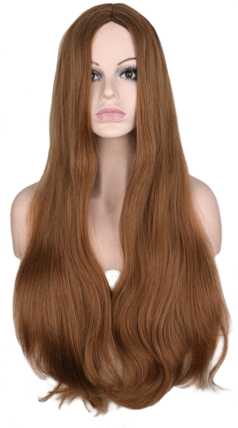 QQXCAIW Women Long Wavy Natural Fully Hair Wig For Women Mixed Brown None Lace Synthetic Hair Wigs