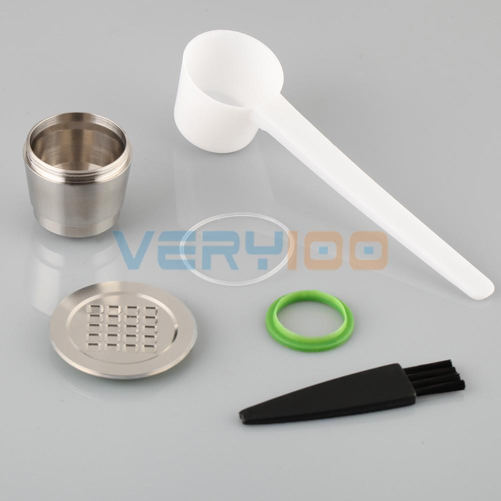 NEW 2 GEN STAINLESS STEEL Metal Capsule Refillable Reusable for Nespresso Machine Free Shipping!