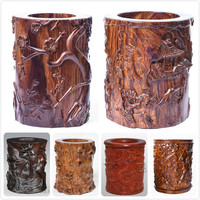Carved Redwood Brush Pot Study Room Office Pencil Boxes New Classical Pen Storage Container Solid Wood Jar Bottles Pen Tube Vase