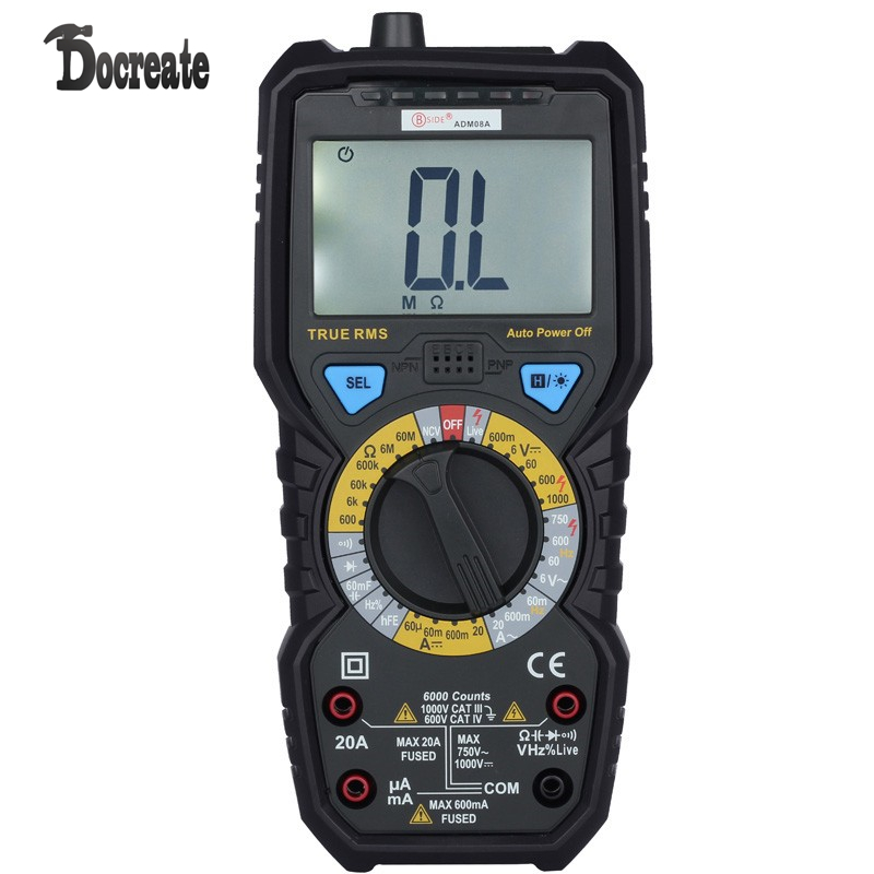 BSIDE ADM08A 6000 Counts True RMS Digital Multimeter with 1000V AC/DC Voltage Resistance Capacitance Frequency Duty Ratio Triode ad637 precision broadband ac true rms peak voltage detection module