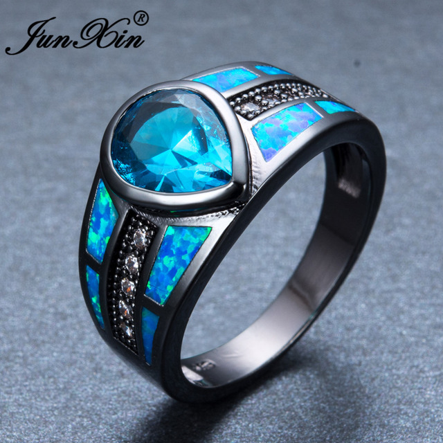 Junxin Women Men Water Drop Shape Blue Fire Opal Ring