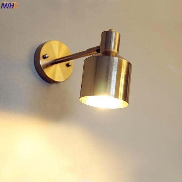 Iwhd Nordic Brass Led Wall Lights Fixtures Bathroom Mirror Light