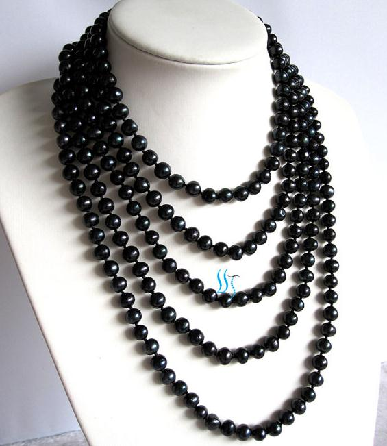 254cm Long Pearl Necklace Black Color 7-8mm Potato Round Freshwater Pearl Necklace Charming Pearl Jewellery254cm Long Pearl Necklace Black Color 7-8mm Potato Round Freshwater Pearl Necklace Charming Pearl Jewellery