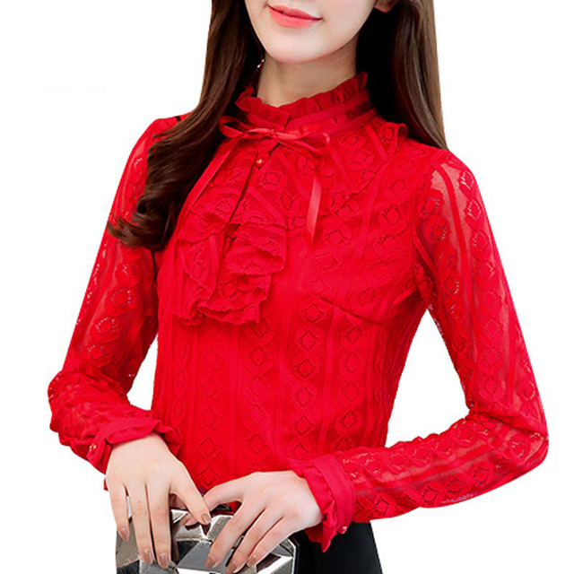 bbcea2dff9adb 2017 Autumn Plus Size Tops Women Red Lace Shirts Ladies Fashion Ruffles Blouse  Femininas Long Sleeve