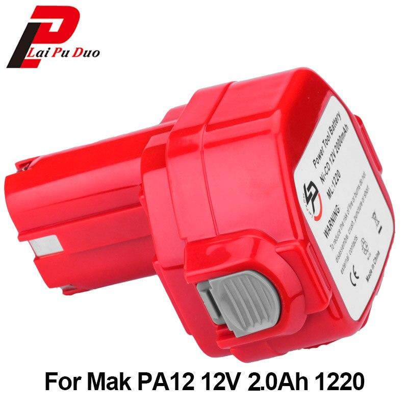 Für Makita 12 v 2000 mah NI-CD 6271d Akku Power Tool Bateria: PA12 1220 1222 1235 192698-2 193157-5 192598-2