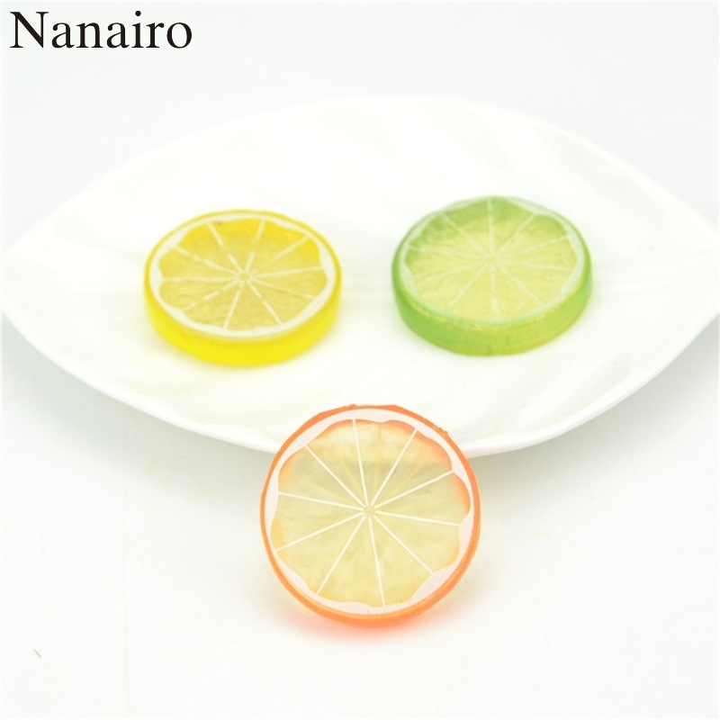 3Pcs Mini Simulation Lemon Slices Super Small Apples Foam Plastic Fake Artificial Fruit Model Party Kitchen Wedding Decoration