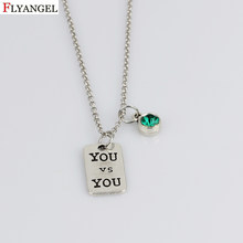 Unisex Charm Chain Birthstone Choker Necklace Fashion YOU Pendant Jewelry for Woman Collar Statement Necklaces Party Jewelry(China)