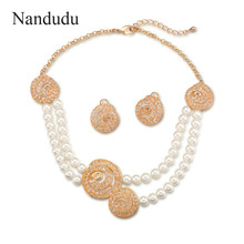 Nandudu Double-deck Pearl Chain Necklace with Round Austrian Crystal Pendant Stud Earrings Jewelry Sets for Women Gift CN347(China)