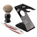 1 Set Badger Hair Brush Z Stand Holder Barber Razor Stainless Steel Shaving Fold Straight Knife Free Shipping