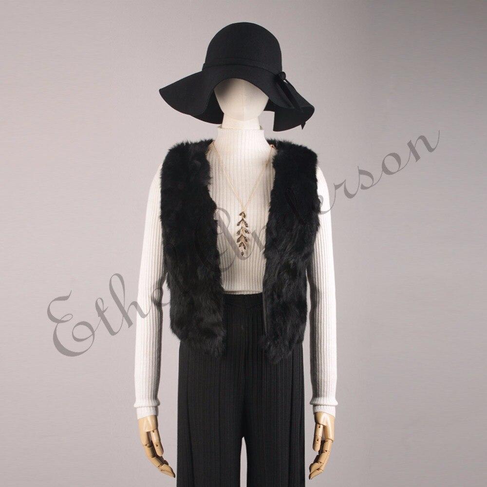 Ethel Anderson Women's Real Rabbit Fur Vest Modern Rabbit Fur Sleeveless Gilet Glamour