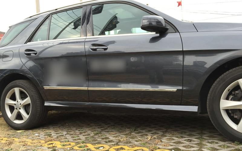 2012 2013 2014 2015 For Mercedes-Benz GL X166 Chrome Glossy car door lower body cover mouldings sill trim 4pcs утеплитель радиатора tammers для mercedes benz gl 2013