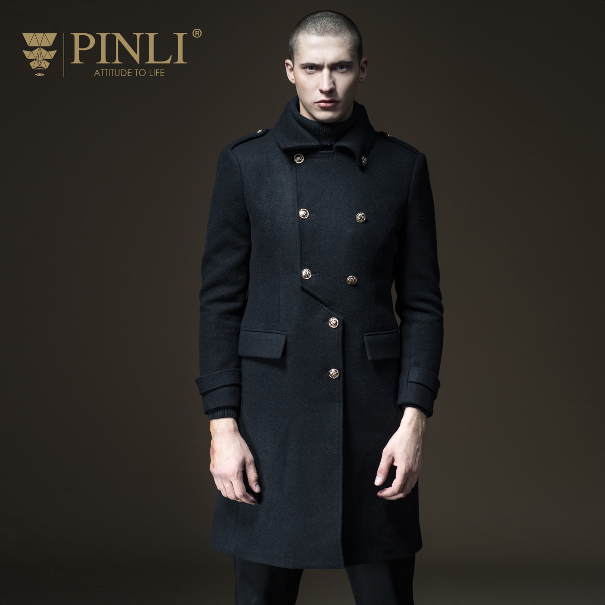 PINLI product made 2017 new men's cultivate morality in the warm autumn long wool coat B173502113 pinli product made of cultivate morality even cap long cotton padded jacket zipper qiu dong outfit b173605400 male coat