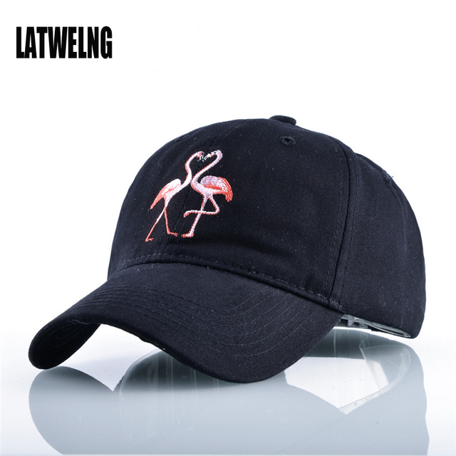 f71ed8496ce 2017 New Cartoon Flamingo Embroidered Coupl Baseball Cap Dad Hat For Women  Men Summer Sun Visor Caps Snapback Hats Casquette