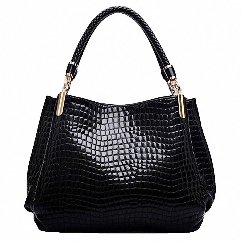 Designer Handväskor Högkvalitativ 2018 Krokodil Mönster Axelväskor Kvinnor Messenger Bag Berömda Märken PU Läder Crossbody Väskor