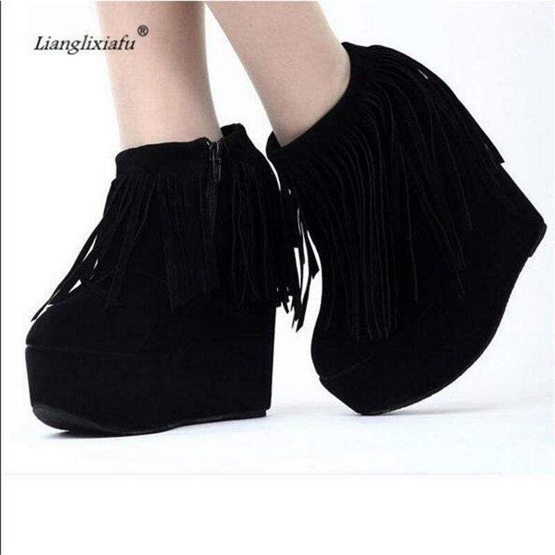 LLXF bota feminina 15cm High heeled Tassels Wedges Shoes woman Stiletto Flock Pumps Ankle Snow Boots