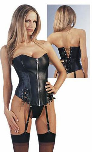 Leather Strapless   Bustier     Corset   3S9034 Very Hot Sale Black Leather Lingerie   Corset   For Women