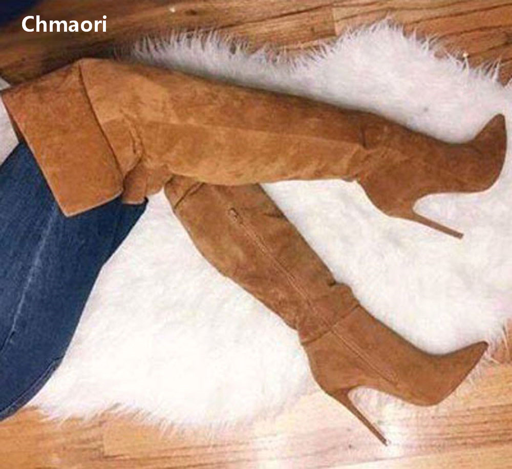 New Arrival High Quality Suede Leather Pointed Toe Long Boots Sexy Over The Knee High Heel Boots Winter Thigh High Boots Women чехлы сидений для hyundai elantra xd купить