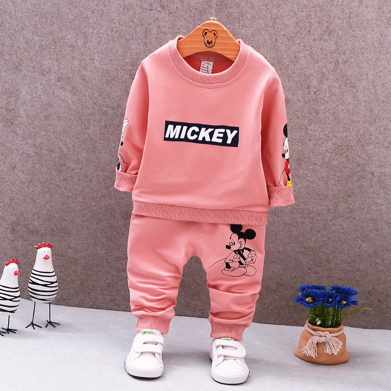 Childrens wear 2017 Autumn baby girl boys sports leisure suit Mickey T-shirt + pants two sets Childrens clothes 1-5years