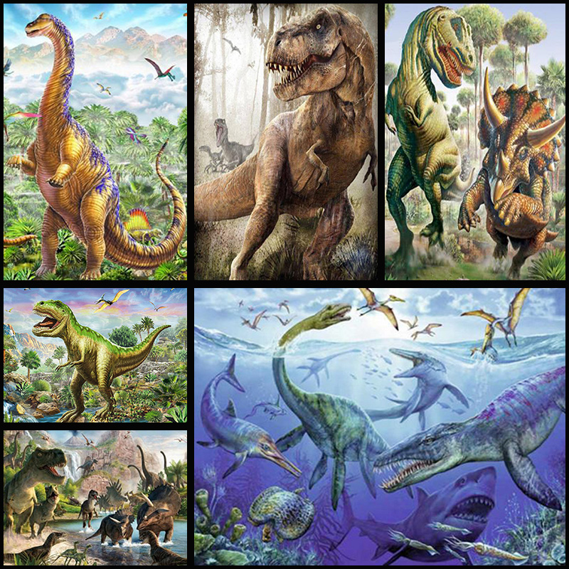 5D DIY Full Drill Diamond Painting T.Rex Dinosaur Cross Stitch Embroidery  Decor