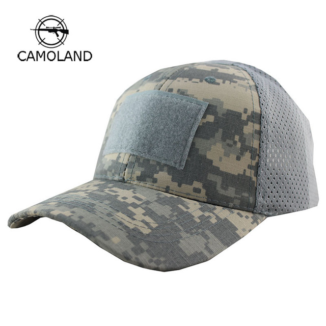 Summer Breathable Mesh Tactical Army Cap Hook And Loop Badge Patch Camo Hats  For Men Women Bone Desert Digital ACU Camouflage 704d5b921