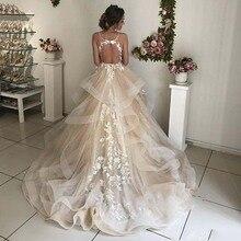 Кружевные свадебные платья цвета шампанского с цветочным рисунком, сексуальные Пышные свадебные платья с открытой спиной и оборками, пляжные свадебные платья, Vestido De Noiva