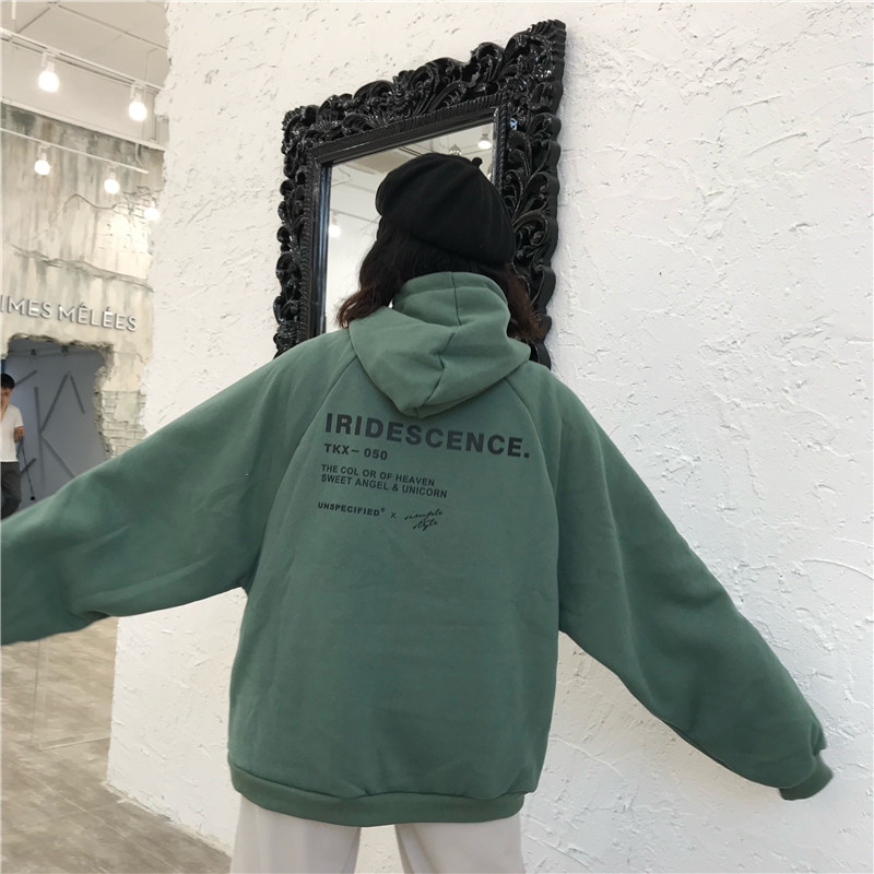 Hoodies Women Thicker Plus Velvet Warm Soft Letter Printed Simple All-match Pockets Leisure Pullovers Womens Trendy Sweatshirts
