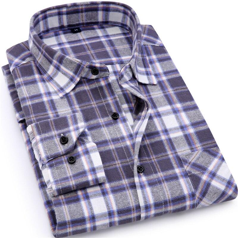 Men Flannel Plaid Shirt 100% Cotton 20