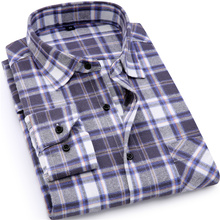 100% Cotton Men Flannel Plaid Shirt – Slim Fit Casual Long Sleeve Shirt for Soft Comfort