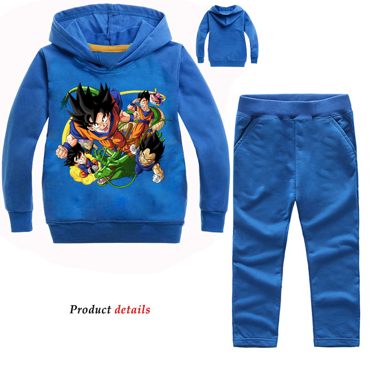 Z&Y 2-14Y Tiny Cottons 2018 Fall Japan Anime Fashion Print Dragon Ball Hoodie Pants 2pcs Set Boutique Kids Clothing Sportswear