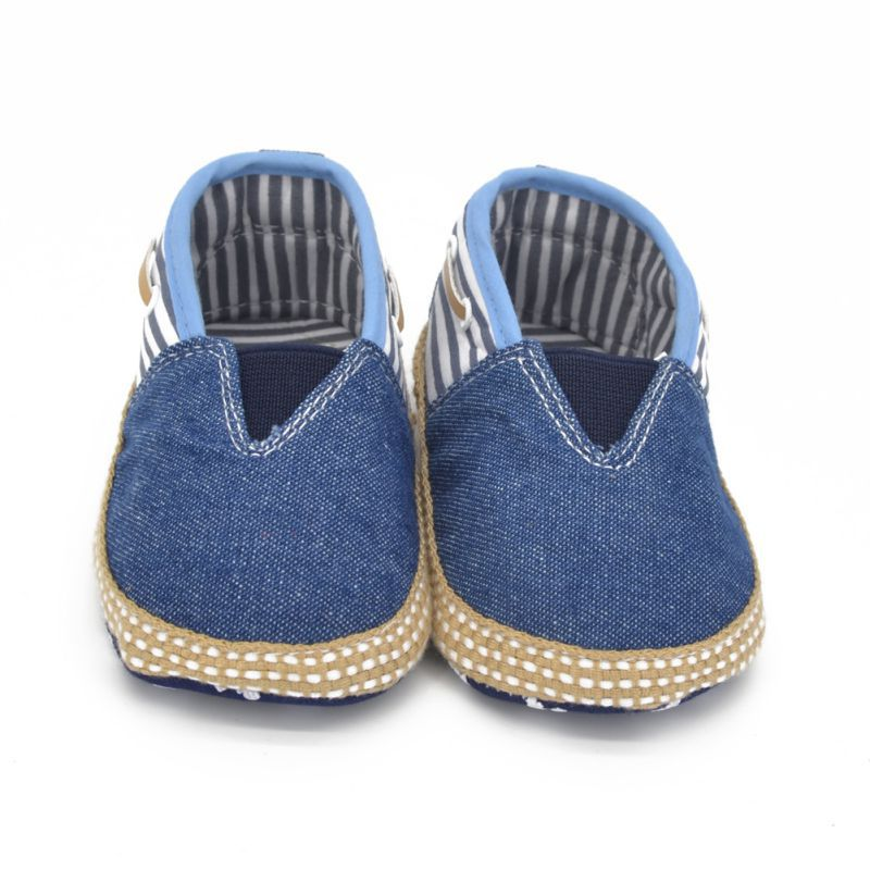 Newest Toddler First Walker Baby Boys Girls Soft Sole Denim Crib Shoes Kids Stripe 0-18 M