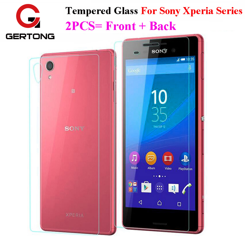 GerTong 2Pcs=Front+Back Tempered Glass For Sony <font><b>Xperia</b></font> <font><b>Z3</b></font> Compact Z1 Z2 Z4 Z5 Mini Z L36h M4 Aqua M5 Screen Protector <font><b>Cover</b></font> Film