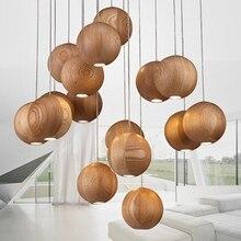 Modern Wood Ball Chandelier Dining Living Room Pendant Ceiling Art Light Lamp