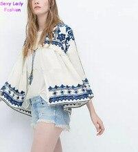 Retro Ethnic Embroidery Blue &White Floral Stream Loose Kimono Cardigan Shirt 2018 New Women S Casual Linen Blouse Sunscreen