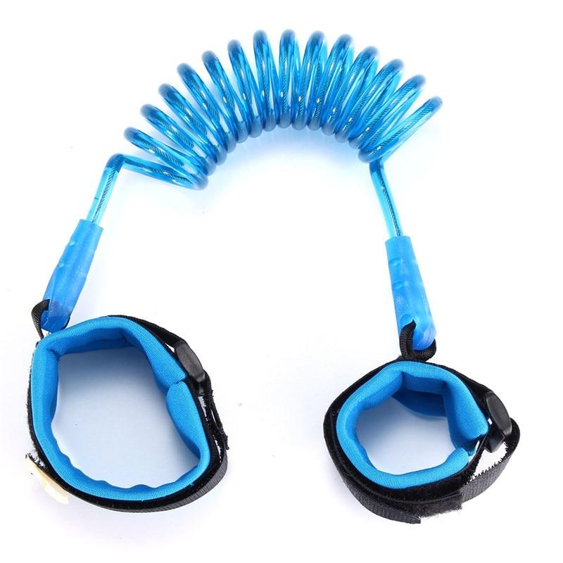 Blau Pu & Edelstahl Kontraktion Wanderer-säuglingskleinkind-sicherheitsgurt Safty Handgelenk Link Anti-verlorene Kind Gürtel Einstellbar Sicherheit & Schutz