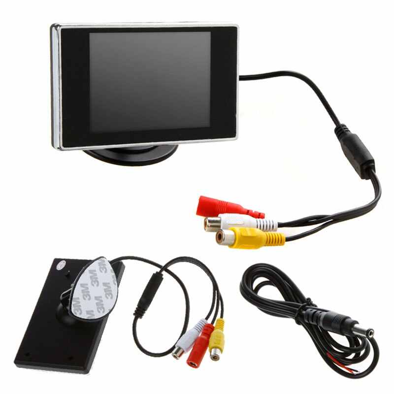 """3.5 """"TFT LCD رصد سيارة السيارات التلفزيون سيارة كاميرا الرؤية الخلفية مع مرآة وقوف السيارات مساعدة احتياطية عكس مراقب مشغل أسطوانات للسيارة شاشة"""