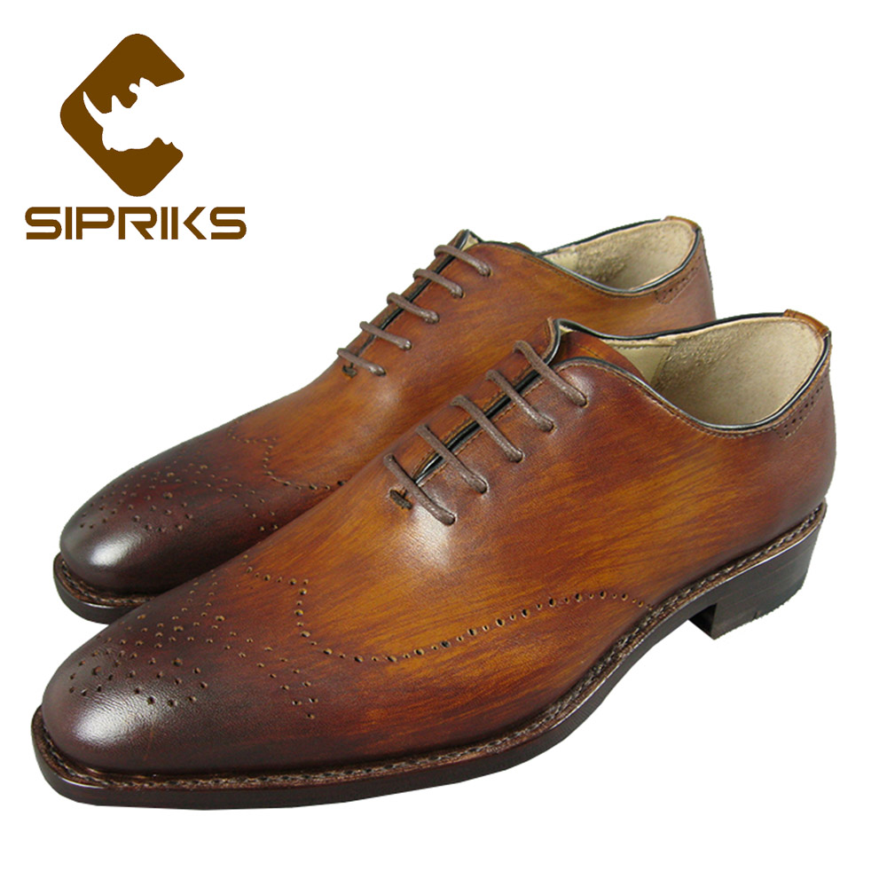 Sipriks Luxury Brand Carved Oxfords Shoes For Men Patina Yellow Brown Dress Shoes Vintage Classic Suits Men Shoes European New sipriks genuine leather yellow brown oxfords shoes for men luxury brand custom goodyear welted shoes vintage carved dress shoes