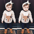 Cute Toddler Kids Baby Girls Winter Fox Hoodies Swearshirt Top Warm Kids Cartoon Clothes