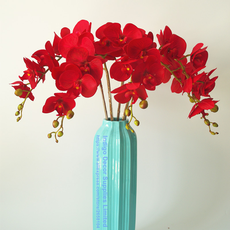 INDIGO- Phalaenopsis Orchidee Zijde Real Touch Flower Kunstbloem - Feestversiering en feestartikelen - Foto 5
