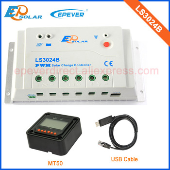 24V PWM 30A solar reulator EPEVER Brand EPsolar LandStar series LS3024B 30amps MT50 remote Meter and USB cable PC connect