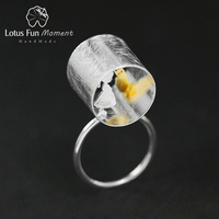 Lotus Fun Moment Real 925 Sterling Silver Natural Creative Handmade Fashion Jewelry Meeting Love With Cat Ring for Women Brincos