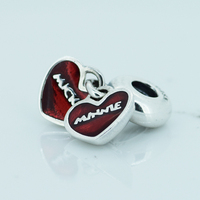 Fits for Pandora Charms Bracelets 100% 925 Sterling Silver Jewelry Mouse Beads with Red Enamel Free Shipping