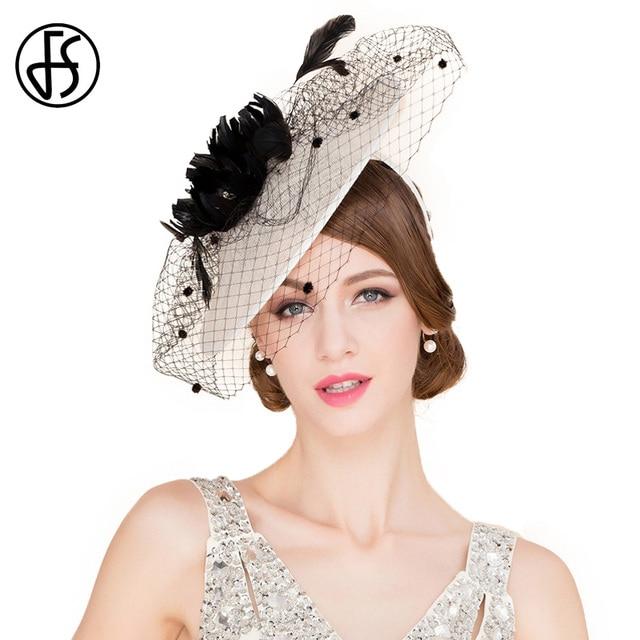 Fs blanco beige elegante verano mujeres kentucky derby sombreros con velo  boda retro grande brim iglesia 3ebb46f73fd