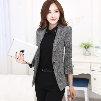 Plaid Slim Blazer Business Casual Suit Women Blazer Elegant Fashion Terno Feminino Office Wear Ladies Work Uniforms P4C0978 floral chiffon dress long sleeve