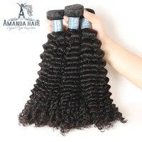 Amanda Peruvian Kinky Curly Virgin Human Hair 4 Bundles Natural Color For Salon Longest Hair PCT 15% Hair Extension