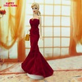 Strapless Fishtail Dress Maroon Gown Princess Costume With Handbag Dollhouse Clothes For Barbie Doll Accessories Toys Gift