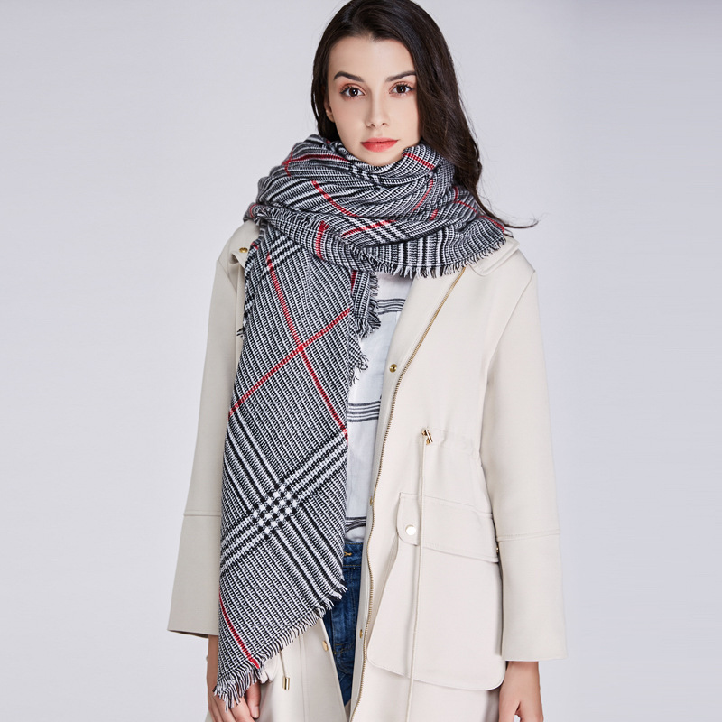 Women Winter Warm Long Cotton Scarf Neck Wrap Tartan Shawl Pashmina Soft Scarf