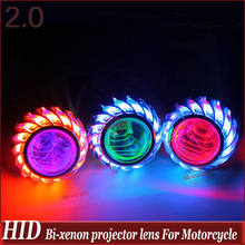 2″ Universal Motorcycle High/Low Hid Bi xenon Projector Lens Headlight Kit CCFL Angel Eye and  Devil Eye Fish Eye Lamp