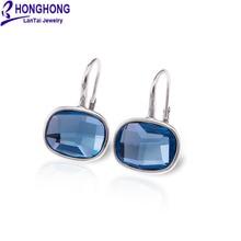 Honghong синие квадратные серьги для женщин элегантные и очаровательные большие серьги с кристаллами модные ювелирные изделия
