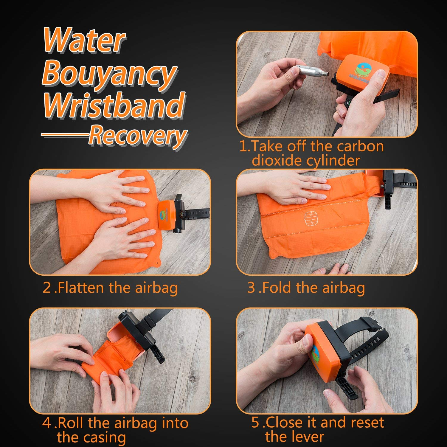 Swimming Emergency Gasbag,Wearable Portable Drowning Rescure Device Float Wrist