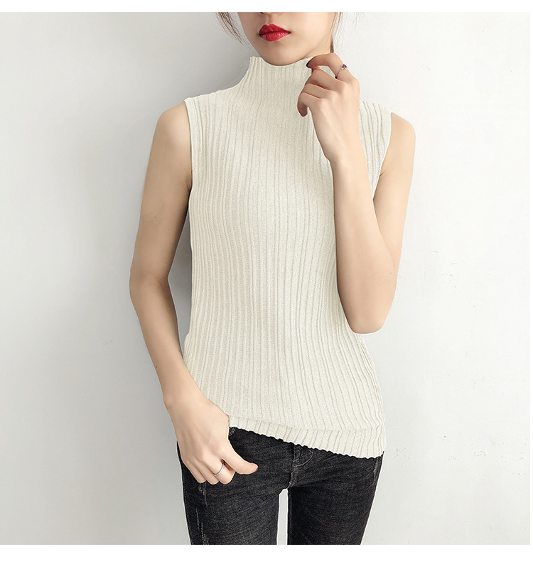 b981bc0e1 2019 Spring sleeveless knitted tanks women stand collar elastic force vest  female vest femme pull femme